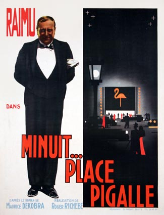 Minuit Place Pigalle by Roger Richebe (23 x 33 in)